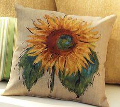 Painted Sunflower Indoor/Outdoor Pillow