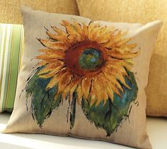 Painted Sunflower Indoor/Outdoor Pillow