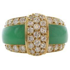 1stdibs | VAN CLEEF & ARPELS Green Rhodochrosite Diamond Gold Band