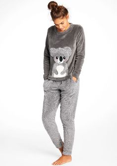 Lola Liza .com Pyjamas with Koala Print grey Fleece twosie met koala print - ASPHALT MELANGE - 15000301_1095 Pajama Outfits, Lazy Outfits, Cute Comfy Outfits, Comfy Dresses, Pretty Outfits, Cute Pajama Sets, Cute Pjs, Cute Pajamas, Cute Sleepwear