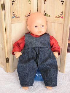 Vêtement pour poupon de 30 cm, salopette et tee shirt : Jeux, jouets par laines-et-tissus