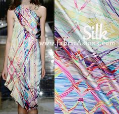 SILK  Pink Blue Trellis Fabric. Discount silk store. fabricAsians  ♥ Visit us to get 10% OFF COUPON ♥ ♥ ♥