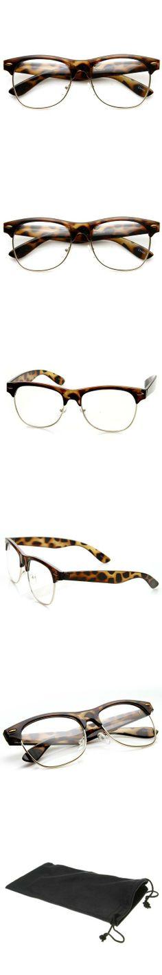 5d67822023c Classic Half Frame Semi-Rimless Clear Lens Wayfarer Glasses (Tortoise)