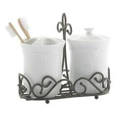 Meridian™ Sink Set Use this in the bathroom or kitchen! Includes toothbrush holder (with removeable top) and canister with bottom caddy to complete the look. Stainless Steel Work Table, Bunt Cakes, Princess House, Canisters, Blacksmithing, Easter Crafts, Toothbrush Holder, Wrought Iron, Ship