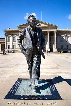 Statue of Harold Wilson, Born in Huddersfield and prime minister of the UK in the 70s, the statue is in St Georges Square, Huddersfield