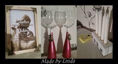 En tavelram av Biltemas trästickor samt ett par vinglas med betongfot. En adventsstake och värmeljushållare även dem av betong.