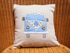 VW campervan pillow/cushion cover, pale blue appliqued felt and hand embroidery on beige 100% cotton.. $40.00, via Etsy.