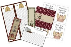 Fun and cute free printable shopping lists,candy wrappers, recipe cards,stationery and more could be a cute gift for MoM.