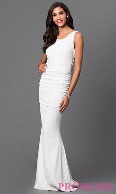 Image of floor length sleeveless ruched glitter embellished dress Detail Image 1