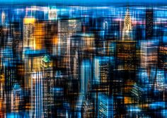 size: Photographic Print: Downtown II by Hannes Cmarits : Acrylic Wall Art, Canvas Wall Art, Metal Walls, Metal Wall Art, Night City, Artist Canvas, Abstract Photography, Main Colors, Baby Clothes Shops