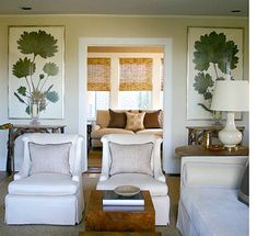 New House Progress: White Sofas in the Family Room (NOTE: large GREEN vertical prints make it seem like nature is indoors) Home Goods Decor, Home Decor, Decoracion Vintage Chic, Dining Room Art, Estilo Tropical, White Sofas, Furniture Deals, Furniture Layout, Furniture Arrangement