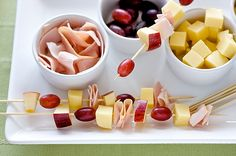 Meat, Cheese, and Fruit Kabobs - Camping Food Fruit Kebabs, Kabobs, Fruit Salad, Cheese Fruit, Ham And Cheese, Good Food, Yummy Food, Fun Food, Delicious Meals