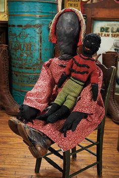 The Blackler Collection (Part 2 of set): 187 American Black Cloth Folk Doll,with Knit Dolls Old Dolls, Antique Dolls, Vintage Dolls, Afro, Knitted Dolls, Crochet Dolls, African American Dolls, Bear Doll, Doll Toys