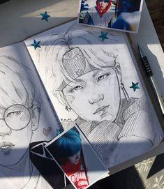 Pin by 💉 𝙭. Kpop Drawings, Art Hoe, Fan Art, Kpop Fanart, Art Sketchbook, Bts Wallpaper, Drawing Sketches, Art Inspo, Art Reference