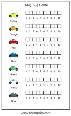 This printable slug bug game is very entertaining on road trips and even just around town. Your kids can easily keep track of points, and even learn some simple graphing skills in the process! Kids Travel Activities, Road Trip Activities, Road Trip Games, Printable Activities For Kids, Family Activities, Road Trip With Kids, Family Road Trips, Travel With Kids, Family Vacations