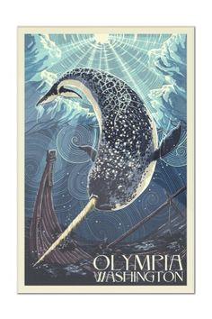 Olympia, Washington - Narwhal Letterpress - Lantern Press Artwork (12x18 Acrylic Wall Sign), Multi