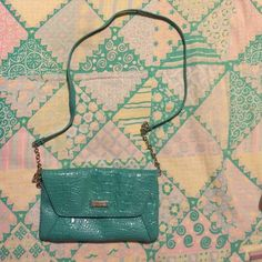 "NINE WEST CROSSBODY BAG ‼️ MINOR SCUFFS ON BAG AS PICTURED ‼️PRODUCT DETAILS Item #231768 UPC #450001061096 Perfect for day or night, the Croc Rock cross body bag from Nine west is a great choice. * Croc embossed faux patent leather cross body bag * Chainlink strap with 24"" drop * Flap closure with snap * Back slip pocket * Fabric lining with zip pocket * Dimensions: 10"" x 1"" x 6"" * Imported Nine West Bags Crossbody Bags"