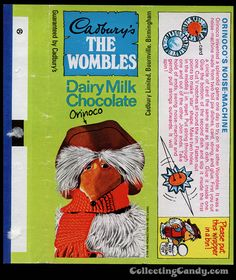 UK - Cadbury's - The Wombles Orinoco - Orinoco's Noise-Machine - chocolate candy bar wrapper - Dairy Milk Chocolate, Chocolate Bars, Cadbury Uk, Kiwiana, Candy Bar Wrappers, Food Packaging, The Good Old Days, Paper Dolls, Childhood Memories