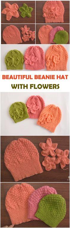 Beautiful Beanie Hat With Flowers Love Crochet, Learn To Crochet, Beautiful Crochet, Crochet Baby, Knit Crochet, Crochet Style, Afghan Crochet Patterns, Knitting Patterns, Hat Patterns