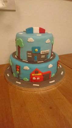 Original Design Police Car And Fire Truck Cake All Hand Cut With - Car engine birthday cake