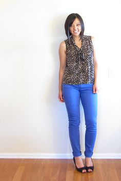 Cobalt and Animal Print,cute paired with nude flats too Printed Pants, Printed Shirts, Cobalt Pants, Blue Pants Outfit, Putting Me Together, Nude Flats, Material Girls, Fashion Colours, Style Me