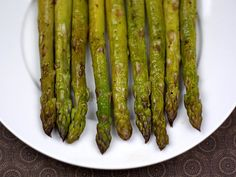 """Roasted Asparagus with Balsamic Vinegar. """"All you have to do is drizzle the asparagus spears with balsamic vinegar and a little bit of olive oil. Season with salt and pepper and roast in the oven for 10-12 minutes."""" Easy."""