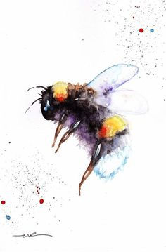 Original Watercolour Bee Print or Greeting card by Artist Be