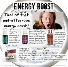 Essential oils for energy Go to www.youngliving.com and order using Sponsor ID#1703435