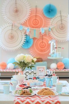 mustache and lip themed first birthday party by little lemonade