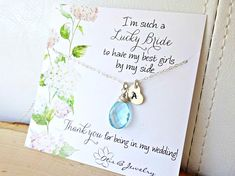 Custom gemstone bridesmaid necklace & message card gift sets, heart initial tag, Lucky Bride, Otis B Bridesmaid Proposal, Bridesmaid Jewelry, Bridal Jewelry, Jewelry Gifts, Bridesmaids, Giveaways, Charms, Personalized Bridesmaid Gifts, Maid Of Honour Gifts