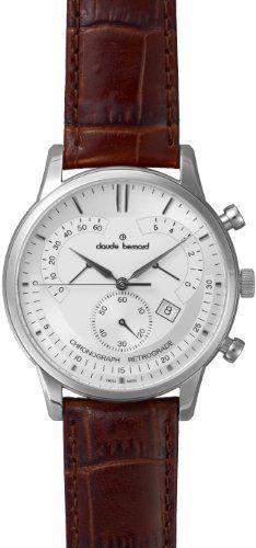 Claude Bernard Men's 01506 3 AIN Classic Silver Dial Chronograph Leather Watch _rama_