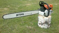 Stihl with bar Wood Cutter, Tree Surgeons, Wildland Firefighter, Stihl Chainsaw, Got Wood, Garage Shop, Wood Slab, Outdoor Power Equipment, Garden Tools