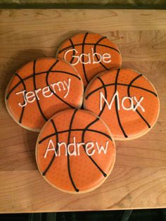 57 Ideas basket ball cookies with numbers for 2019 Basketball Cupcakes, Basketball Birthday Parties, Cake Decorating For Kids, Cookie Decorating, Royal Icing Cookies, Sugar Cookies, Cake Cookies, Biscuits, Sport Cakes