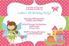 Fairy Themed Birthday Invitation - DIGITAL IMAGE (4 designs)