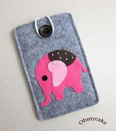 "iPhone Case - Cell Phone Case - iPhone 4 Case - iPod Case - iPod Touch Case - Handmade iPhone Felt Case - "" Pink Elephant "" Design. $18.00, via Etsy."
