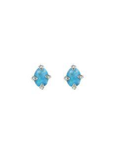 Cathy Waterman - Boulder Opal Studs with Diamonds