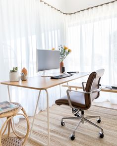 In a space this beautiful, work could never be boring. Get the look at theshadestore.com // Design by Natalie Myers // Photo by Charlotte Lea Window Coverings, Window Treatments, Woven Wood Shades, Interior Design Work, Drapery Panels, Spring Home, Home Studio, Home Office, Architecture Design