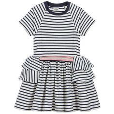 No Added Sugar - Girls Blue Striped Jersey Dress   Childrensalon