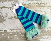 Shades of Sky Legwarmers with Aqua Ruffles