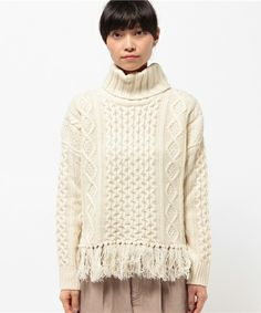 NOLLEY'S WOMEN'S(ノーリーズウィメンズ)の3Gアラン柄裾フリンジプルオーバーニット(ニット/セーター)|詳細画像