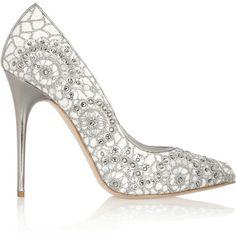Alexander McQueen Crystal-embellished embroidered suede pumps
