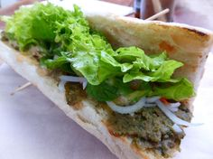 Vegetarian banh mi with smokey eggplant and salad Cambodian style. So delicious .#banhmi #eggplant #restaurant #food #siemreap #cambodia #foodadventures #tastetravel #tastetravelfoodadventuretours #sunshinecoast #australia #holiday #vacation #instafood #instagood #followme #localsknow #cookingclass #foodie #foodietour #foodietravel #angkorwat #sightseeing