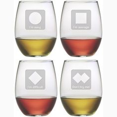 These whimsical Ski Trails stemless wine glasses are a fun set to add to your home bar.