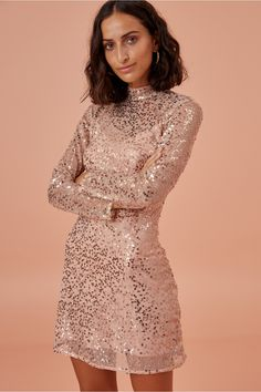 Finders Keepers Selena Long Sleeve Dress In Champagne Sequin Fabric, Sequin Dress, Wardrobe Makeover, Mini Vestidos, Glitz And Glam, Long Sleeve Mini Dress, Fashion 2017, Dress Collection, New Dress