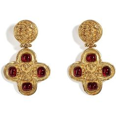 See this and similar Chanel earrings - Luxurious gold ear clips by Chanel Vintage jewelry. All pieces are original Chanel creations from the and 80s Jewelry, Diy Jewelry Rings, Cross Jewelry, Cross Earrings, Pearl Drop Earrings, Jewelry Art, Antique Jewelry, Vintage Jewelry, Jewelry Design