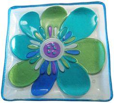 Blue/Green Flower Glass Fusion Plate by Lori Siebert  $28.95