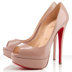 Best Christian Louboutin Lady 140mm Peep Toe Pumps Nude Popular In The World