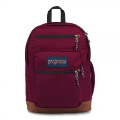 """JanSport Cool Student Backpack Russet Red All the great features of Jansport Big Student, plus a sleeve for a 15 inch"""" laptop and synthetic leather base & trim. Extra large capacity. Water bottle pocket. Premium details and fabrics. Red Backpack, Jansport Backpack, Laptop Backpack, School Backpacks, Laptop Sleeves, School Bags, Suede Leather, Unisex, Shoulder Straps"""