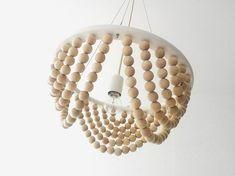 Items similar to WOODY Basic Shade + CableONE Lamp (SET). on Etsy - Weltknuddeltag Bilder Diy Luz, Luminaria Diy, Diy Luminaire, Wood Bead Chandelier, Chandeliers, Bois Diy, Wood Lamps, Lamp Sets, Ceiling Lamp
