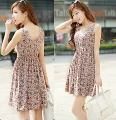 Free shipping 2014 women's new fashion summer Floral Print Dress, casual dress for women